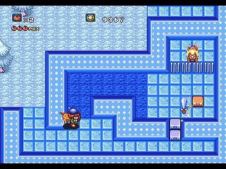 Quicando a espada pelas paredes congeladas.